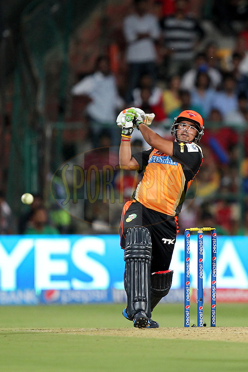 Karn Sharma of the Sunrisers Hyderabad during match 24 of the Pepsi Indian Premier League Season 2014 between the Royal Challengers Bangalore and the Sunrisers Hyderabad held at the M. Chinnaswamy Stadium, Bangalore, India on the 4th May  2014Photo by Prashant Bhoot / IPL / SPORTZPICSImage use subject to terms and conditions which can be found here:  http://sportzpics.photoshelter.com/gallery/Pepsi-IPL-Image-terms-and-conditions/G00004VW1IVJ.gB0/C0000TScjhBM6ikg