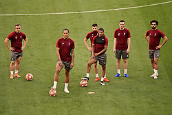 MADRID, SPAIN - Friday, May 31, 2019: Liverpool's Xherdan Shaqiri, Virgil van Dijk,  Adam Lallana, Rhian Brewster, Andy Robertson, Mohamed Salah during a training session ahead of the UEFA Champions League Final match between Tottenham Hotspur FC and Liverpool FC at the Estadio Metropolitano. (Pic by Handout/UEFA)