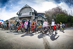 Riders wait at the uplift station for the start of the practise at the first round of the UCI Mountainbike World Cup downhill at Lourdes, France.