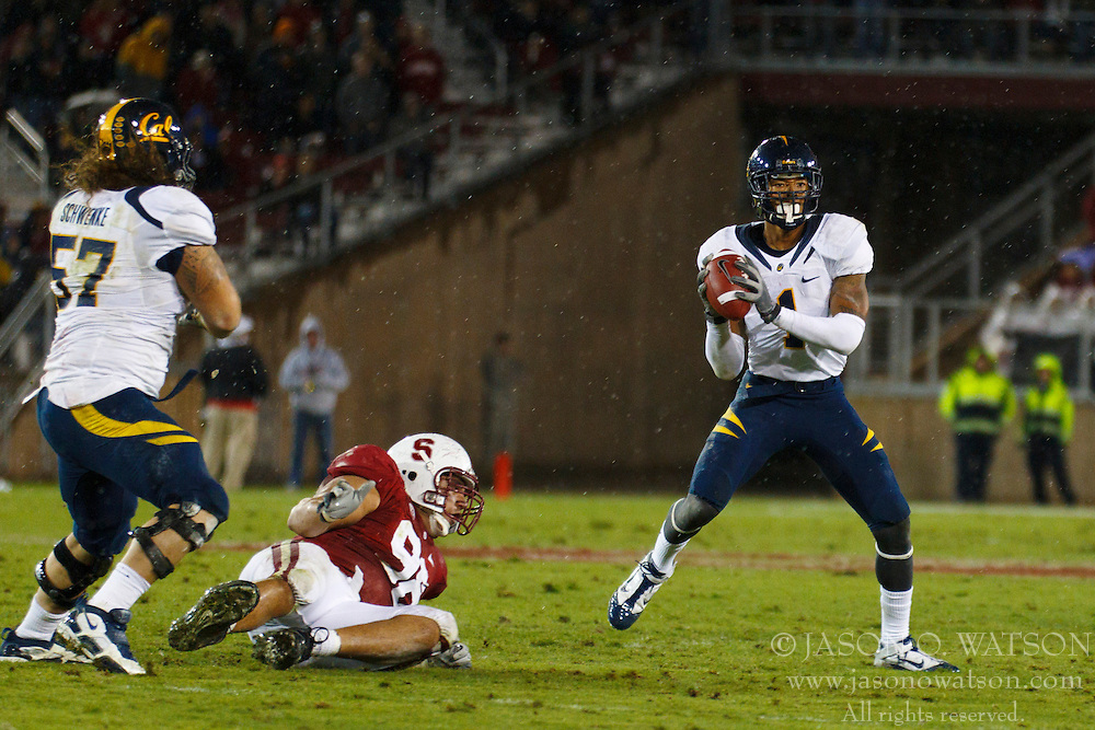 Nov 19, 2011; Stanford CA, USA;  California Golden Bears wide receiver Marvin Jones (1) attempts to pass on a trick play against the Stanford Cardinal during the first quarter at Stanford Stadium.  Stanford defeated California 31-28. Mandatory Credit: Jason O. Watson-US PRESSWIRE