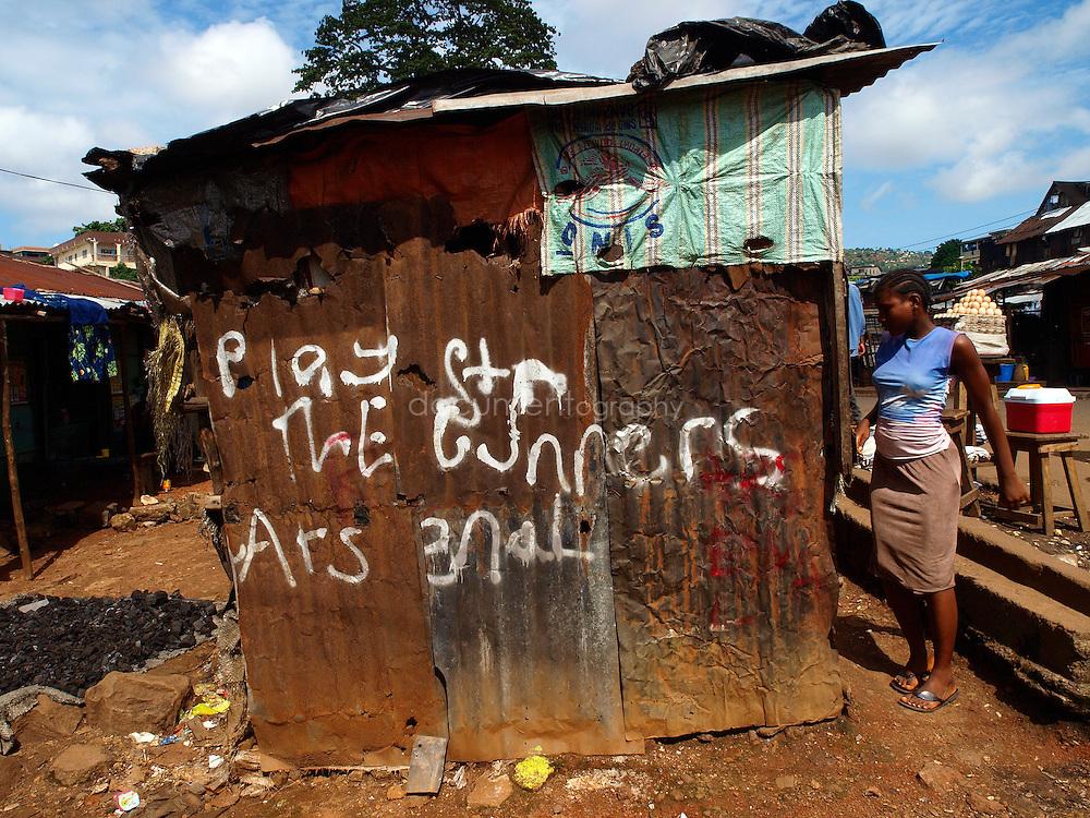 A local Playstation centre, Kroo Bay, Freetown, Sierra Leone