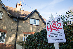 Harefield, UK. 7 February, 2020. A Stop HS2 sign outside a house in the Colne Valley.