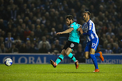 Jacob Butterfield of Derby County passes back under pressure from Glenn Murray of Brighton & Hove Albion - Mandatory by-line: Jason Brown/JMP - 10/03/2017 - FOOTBALL - Amex Stadium - Brighton, England - Brighton and Hove Albion v Derby County - Sky Bet Championship