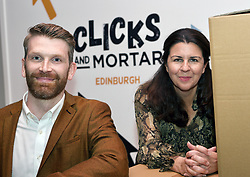 Simon Donegan, head of seller services at Amazon, and Emma Noble, founder of Enterprise Nation, at the launch of the pop-up Clicks and Mortar shop in Edinburgh. Pic copyright Terry Murden @edinburghelitemedia