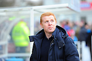 Bolton Wanderers manager Neil Lennon looks up to the sky at the clouds thicken above the Silverlake Stadium before the The FA Cup third round match between Eastleigh and Bolton Wanderers at Silverlake Stadium, Ten Acres, Eastleigh, United Kingdom on 9 January 2016. Photo by Graham Hunt.