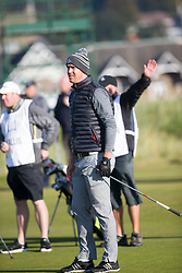 Kevin Pietersen playing the first hole. Alfred Dunhill Links Championship this morning at Championship Course at Carnoustie.