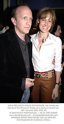 MR & MRS SIMON SEBAG-MONTEFIORE, her family are friends of the Prince of Wales, at a party in London on 14th January 2002. OWL 95