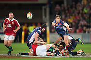 Luke Burgess (Rebels) passing during the tour match of the 2013 British And Irish Lions Australian Tour between RaboDirect Melbourne Rebels vs British And Irish Lions at AAMI Park, Melbourne, Victoria, Australia. 25/06/0213. Photo By Lucas Wroe