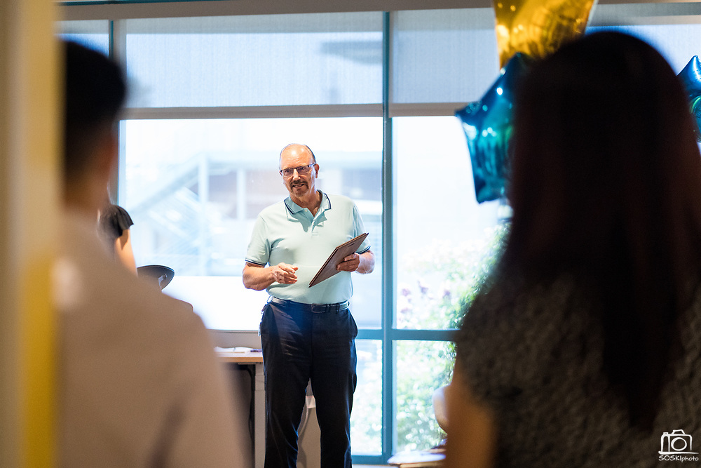 Bill celebrates his retirement with colleagues at Cisco Systems in Milpitas, California, on July 23, 2019. (Stan Olszewski/SOSKIphoto)