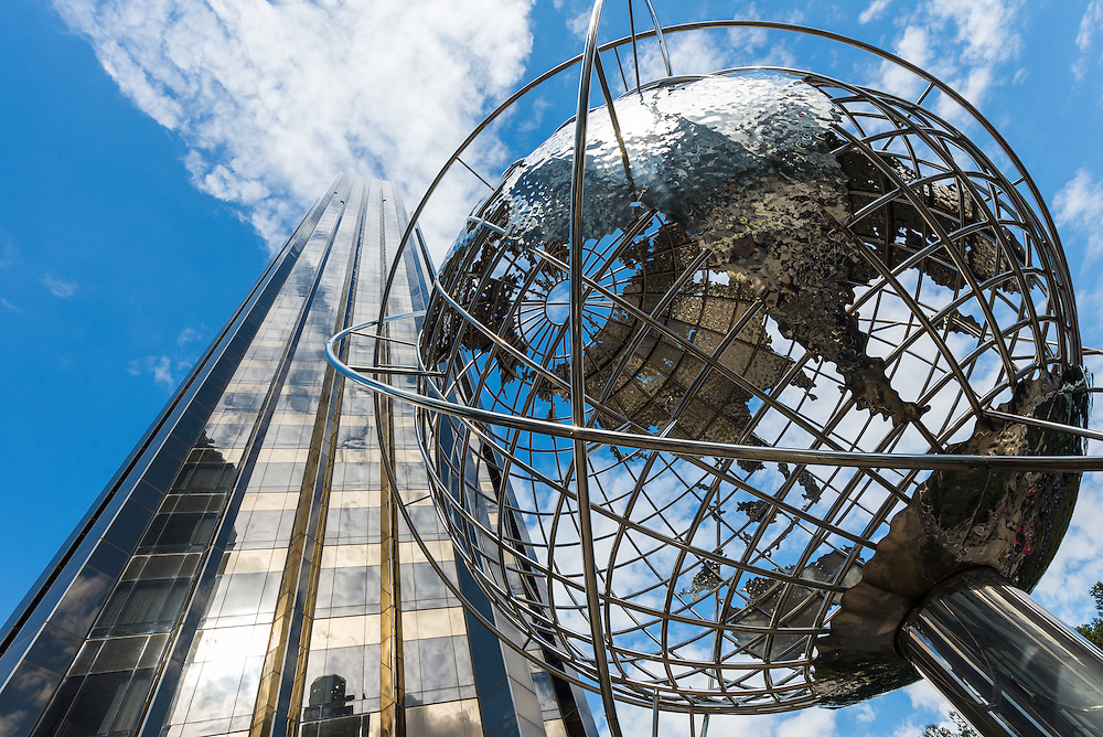 Globe sculpture in front of Trump International Hotel and Tower, New York