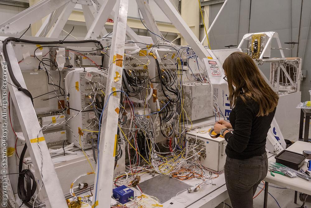 Nicole Duncan working on the GRIPS Telescope