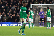 Moses Odubajo (22) leaves the field after receiving a red card during the EFL Sky Bet Championship match between Derby County and Sheffield Wednesday at the Pride Park, Derby, England on 11 December 2019.