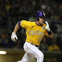 2009 February 20: LSU's Ryan Schimpf (16) runs to base during a NCAA baseball match up between the #1 ranked LSU Tiger and the unranked Villanova Wilcats at the newly constructed Alex Box Stadium in Baton Rouge, Louisiana..