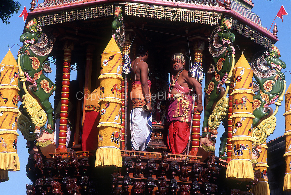 The Hindu Vel Cart festival in Colombo. The cart travels down the main road in Colombo, the Galle Road, between two temples.