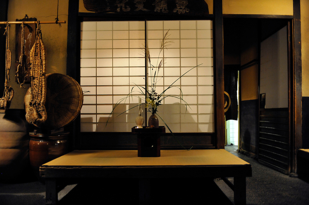 Japanese traditional restaurant Hyotei..Main entrance of the restaurant in the evening as the first clients are arriving