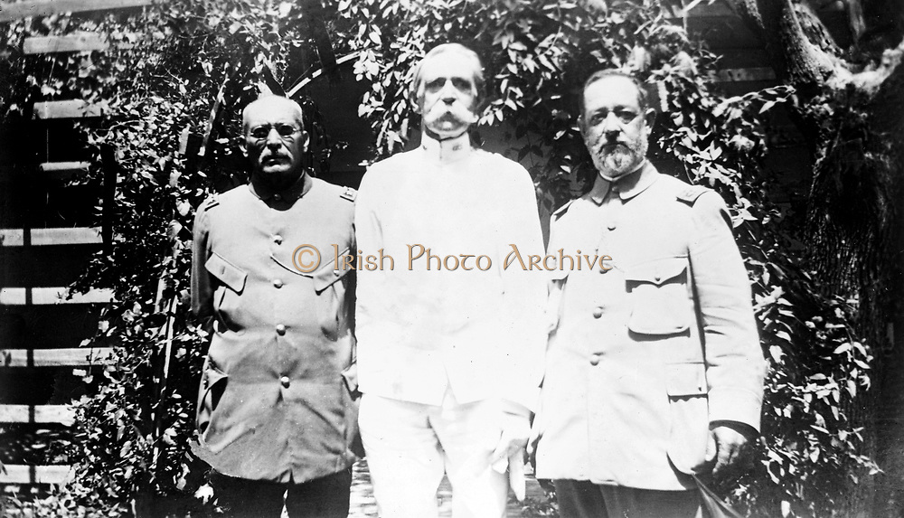 Mexican General Victoriano Huerta (left), U.S. General Edgar Z. Steever (centre) and Mexican General Joaquín Téllez (right). José Victoriano Huerta Márquez (Colotlán, Jalisco, December 22, 1850, – January 13, 1916. Mexican general who briefly became president during the Mexican Revolution