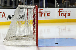 Dec 3, 2011; San Jose, CA, USA; General view of a hockey puck in front of a goal before the game between the San Jose Sharks and the Florida Panthers at HP Pavilion. Florida defeated San Jose 5-3. Mandatory Credit: Jason O. Watson-US PRESSWIRE