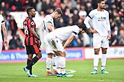 James Tomkins (5) of Crystal Palace and James McArthur (18) of Crystal Palace look dejected at full time after a 2-2 draw during the Premier League match between Bournemouth and Crystal Palace at the Vitality Stadium, Bournemouth, England on 7 April 2018. Picture by Graham Hunt.