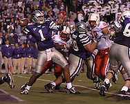 Kansas State quarterback Josh Freeman (1) drops back to pass against pressure from Nebraska at Bill Snyder Family Stadium in Manhattan, Kansas, October 14, 2006.  The Huskers beat the Wildcats 21-3.<br />