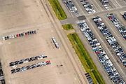 Nederland, Limburg, Gemeente Sittard-Geleen, 26-06-2014; Born, parkeerterrein Koopman Automotive Solutions, onder andere voor lease auto's.<br /> Parking Koopman Automotive Solutions, including company cars.<br /> luchtfoto (toeslag op standaard tarieven);<br /> aerial photo (additional fee required);<br /> copyright foto/photo Siebe Swart.