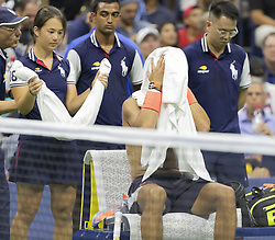 September 4, 2018 - New York, New York, United States - Rafael Nadal of Spain serves during US Open 2018 quarterfinal match against Dominic Thiem of Austria at USTA Billie Jean King National Tennis Center (Credit Image: © Lev Radin/Pacific Press via ZUMA Wire)