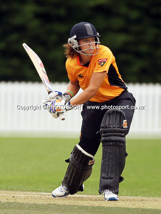 Sarah Taylor batting for Wellington. Canterbury Magicians v Wellington Blaze. Action Cricket Twenty20, womens cricket match, Lincoln No. 3, Lincoln University, Thursday 29 December 2011. Photo : Joseph Johnson / photosport.co.nz