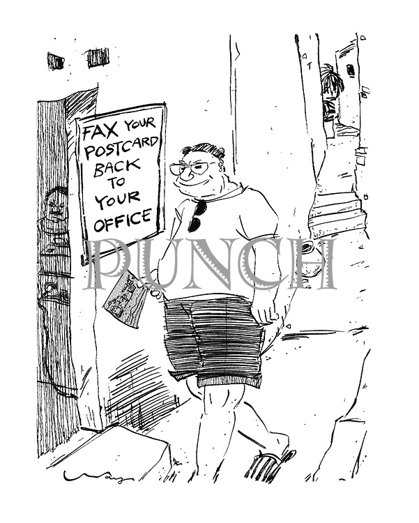 (Man entering shop to fax postcard to office).
