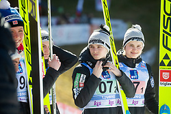 ROGELJ Spela , KRIZNAR Nika  celebrates after Day 1 of FIS Ski Jumping World Cup Ladies Ljubno 2020, on February 22th, 2020 in Ljubno ob Savinji, Ljubno ob Savinji, Slovenia. Photo by Matic Ritonja / Sportida