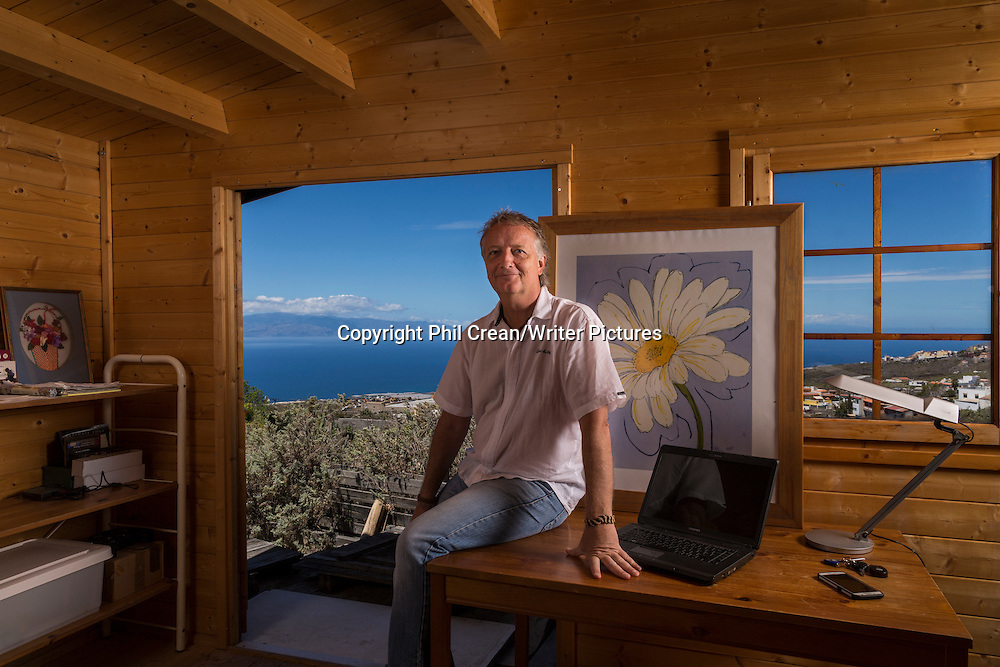 Joe Cawley, expat British author in his writing hut at Acojeja, Tenerife, Canary Islands, Spain.<br />