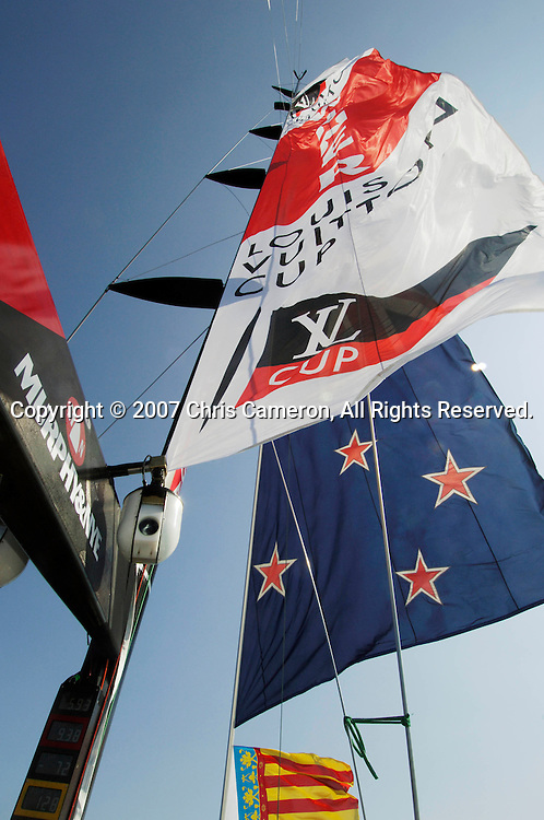 Emirates Team New Zealand fly a Louis Vuitton Cup Winner banner from the mast of NZL92 after their 5 - 0 win of the Louis Vuitton Cup finals.<br /> Valencia, Spain<br /> Wednesday 6 June 2007<br /> Photo: Chris Cameron/PHOTOSPORT