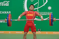 Ashgabat 2017 - 5th Asian Indoor & MartialArts Games 17-09-2017. Mens weightlifting - Jia Xionghui (CHI) competes in the snatch competition