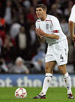 Photo: Paul Thomas/Sportsbeat Images.<br /> England v Croatia. UEFA European Championships Qualifying. 21/11/2007.<br /> <br /> Steven Gerrard of England tries to encourage his team.