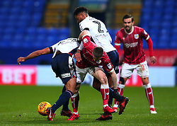 Ryan Kent of Bristol City is tackled - Mandatory by-line: Robbie Stephenson/JMP - 02/02/2018 - FOOTBALL - Macron Stadium - Bolton, England - Bolton Wanderers v Bristol City - Sky Bet Championship