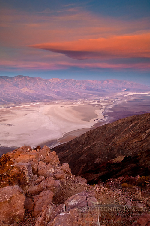 Morning light and clouds over saltpan at Badwater Basin,  from Dantes View, Death Valley National Park, California