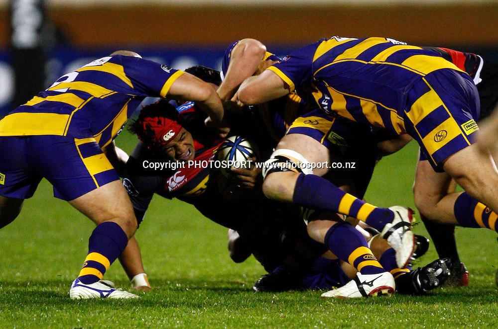 Canterbury reserve Nasi Manu is tackled hard, Air NZ Cup, NPC rugby union. Bay of Plenty v Canterbury. Bay Park Stadium, Mt Maunganui. 5 September 2009. Photo: William Booth/PHOTOSPORT