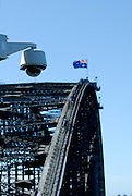 Security camera overlooking the Sydney Harbour Bridge. Sydney, Australia