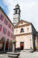 Ticino, Southern Switzerland. Impressive church square in the town of Intragna.