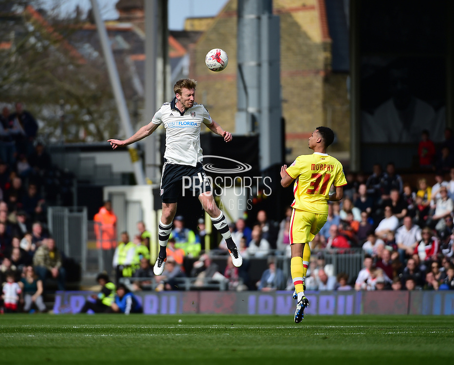 Fulham Defender Tim Ream (13) in action during the Sky Bet Championship match between Fulham and Milton Keynes Dons at Craven Cottage, London, England on 2 April 2016. Photo by Jon Bromley.
