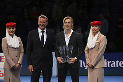 November 18, 2017 - London, England, United Kingdom - Rising star and the most Improved Player of the Year Award goes to Denis Shapovalov of Canada presented by Chris Kermode, Executive Chairman and President of the ATP during day seven of the Nitto ATP World Tour Finals tennis at the O2 Arena on November 18, 2017 in London, England. (Credit Image: © Alberto Pezzali/NurPhoto via ZUMA Press)
