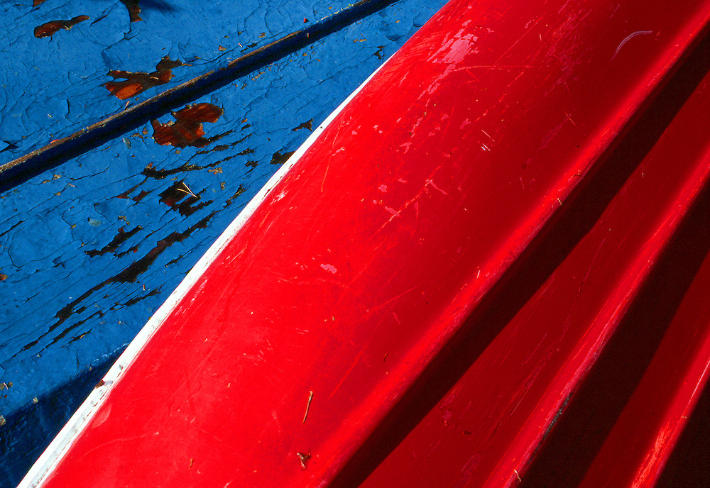 Two old canoes lie in Cypress Hills Park, Saskatchewan