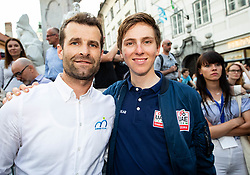 Andrej Hauptman and Tadej Pogacar during reception of best Slovenian riders after Giro d'Italia 2019 and Tour of California 2019, on June 3rd, 2019, in Mestni trg, Ljubljana, Slovenia. Photo by Vid Ponikvar / Sportida
