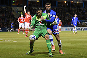 Walsall goalkeeper Neil Etheridge and Gillingham forward Brennan Dickinson during the Sky Bet League 1 match between Gillingham and Walsall at the MEMS Priestfield Stadium, Gillingham, England on 12 April 2016. Photo by Martin Cole.