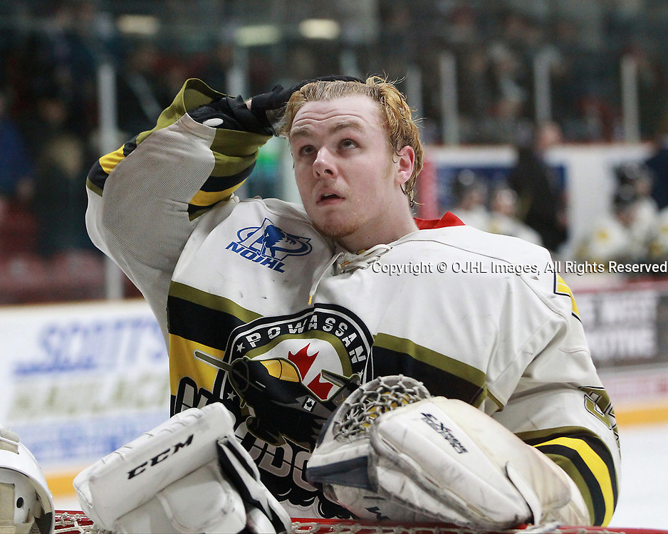 TRENTON, ON  - MAY 5,  2017: Canadian Junior Hockey League, Central Canadian Jr. &quot;A&quot; Championship. The Dudley Hewitt Cup. Game 7 between Georgetown Raiders and the Powassan Voodoos.  Nate McDonald #33 of the Powassan Voodoos during the first period.<br /> (Photo by Tim Bates / OJHL Images)