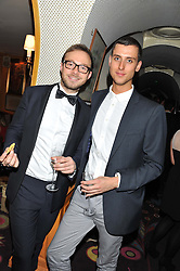 Left to right, TOM RUSSELL and JAMES MACK at a party to celebrate the publication of Tatler Magazine's Little Black Book 2012 held at Annabel's, Berkeley Square, London on 7th November 2012.