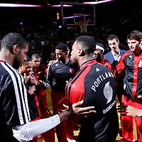 06 December 2013: Portland Trail Blazers power forward LaMarcus Aldridge (12), Portland Trail Blazers small forward Nicolas Batum (88) and their teammates are seen during the players introduction prior to the Portland Trail Blazers 130-98 victory over the Utah Jazz at the Moda Center, Portland, Oregon, USA.