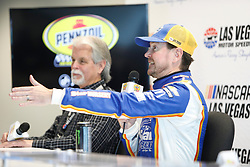March 1, 2019 - Las Vegas, NV, U.S. - LAS VEGAS, NV - MARCH 01: Kurt Busch (1) Chip Ganassi Racing (CGR) Chevrolet Camaro ZL1 answers questions from the media in the ThriveHive Digital Center prior to practice and qualifying for the Monster Energy NASCAR Cup Series Pennzoil 400 on March 1, 2019, at Las Vegas Motor Speedway in Las Vegas, NV. (Photo by Joe Buglewicz/Icon Sportswire) (Credit Image: © Joe Buglewicz/Icon SMI via ZUMA Press)
