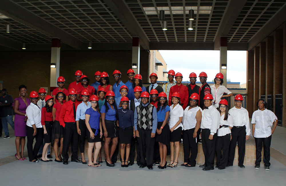 The inaugural class of students inducted into the Kashmere High School Futures Academy on May 30, 2013.