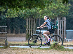 © Licensed to London News Pictures. 13/08/2020. London, UK. A cyclist in Richmond Park in South West London gets caught in heavy rain this afternoon after several days of dry hot weather which saw temperatures in excess of 35c. The Met Office have issuing a yellow weather warning for thunderstorms and heavy rain for the London area with risk of flooding and possible travel disruption. Photo credit: Alex Lentati/LNP