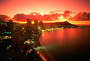 Diamond Head, Sunset, Waikiki, Oahu, Hawaii, USA<br />