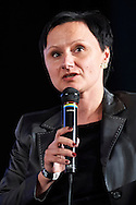 "WARSAW, POLAND - APRIL 23: Anna Maslon - Oracz from Maroney Group speaks while debate: ""Sport as inspiration in business"" during science conference The Day of Sport at National Library on April 23, 2016 in Warsaw, Poland.<br /> <br /> Picture also available in RAW (NEF) or TIFF format on special request.<br /> <br /> Any editorial, commercial or promotional use requires written permission from the author of image.<br /> <br /> Adam Nurkiewicz declares that he has no rights to the image of people at the photographs of his authorship.<br /> <br /> Mandatory credit:<br /> Photo by © Adam Nurkiewicz / Mediasport"
